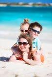 Beautiful family on a beach royalty free stock photo