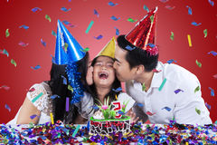 Beautiful family celebrate birthday party Royalty Free Stock Photo
