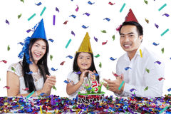 Beautiful family celebrate child birthday Royalty Free Stock Image
