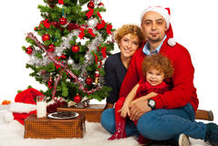 Beautiful family celebrate Christmas Stock Photos