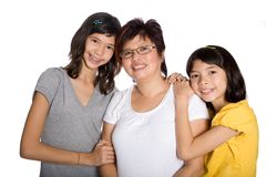 Beautiful family with Chinese mom and two daughter Royalty Free Stock Photography