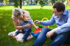 Beautiful family on city park Royalty Free Stock Images
