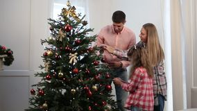 Beautiful family decorating Christmas tree stock footage
