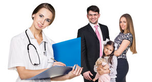 Beautiful family with doctor Stock Photography