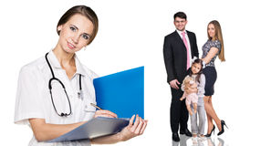 Beautiful family with doctor Stock Photo