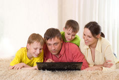 Beautiful family of four Stock Images