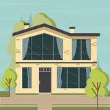 Beautiful family house and apartment banners on the nature background Royalty Free Stock Images