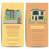 Beautiful family house and apartment banners on the nature background Stock Photography