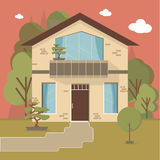 Beautiful family house and apartment banners on the nature background Royalty Free Stock Photo