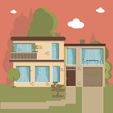 Beautiful family house and apartment banners on the nature background Royalty Free Stock Photos