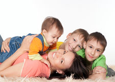 Beautiful family lying Royalty Free Stock Photos
