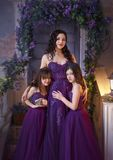 A beautiful family outfit. Two daughters embrace Mom with love and tenderness in luxurious purple-burgundy dresses. Girls have long curly hair. Art photo Stock Image