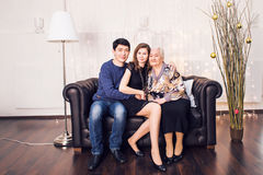 Beautiful family portrait relaxing at the living room at home Royalty Free Stock Image