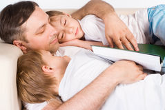 Beautiful Family Sleeping Royalty Free Stock Photography