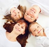 Beautiful family with two children Stock Photos
