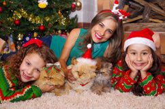 Beautiful family wearing a christmas clothes, hugging her cats, the curly girl with a red tie in her hair while the Royalty Free Stock Photography