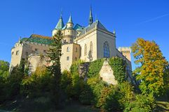 Beautiful Famous Bojnice castle 7, slovakia. Bojnice Castle is a medieval castle in Bojnice, Slovakia. It is a Romantic castle with some original Gothic and royalty free stock images