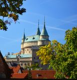 Beautiful Famous Bojnice castle 3 , slovakia. Bojnice Castle is a medieval castle in Bojnice, Slovakia. It is a Romantic castle with some original Gothic and royalty free stock images