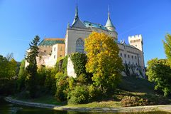 Beautiful Famous Bojnice castle 4, slovakia. Bojnice Castle is a medieval castle in Bojnice, Slovakia. It is a Romantic castle with some original Gothic and stock photos