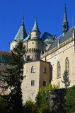 Beautiful Famous Bojnice castle 6, slovakia. Bojnice Castle is a medieval castle in Bojnice, Slovakia. It is a Romantic castle with some original Gothic and royalty free stock photography