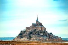 Beautiful famous castle Mont-Saint-Michel stock photos
