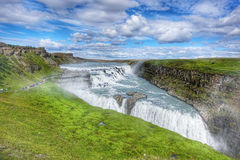 Beautiful and famous Gullfoss waterfall, Golden circle route in Iceland Royalty Free Stock Image
