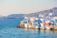 Beautiful famous landmark Little Venice in Mykonos Island on Greece, Cyclades. Little Venice in Mykonos Island Greece Cyclades Stock Photography