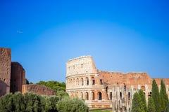 Colosseum or Coliseum background blue sky in Rome. Beautiful famous landmark Little Venice in Mykonos Island on Greece, Cyclades Stock Photo