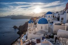Beautiful Oia village on Santorini island in Greece. Beautiful famous Oia village on Santorini island in Greece Royalty Free Stock Photography