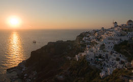 This is the beautiful and famous sunset at Oia Stock Photography