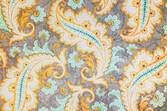 Beautiful fancy paisley pattern. A close up of a colorful elaborate and complex printed old printed repeat paisley pattern Royalty Free Stock Images