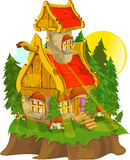 Beautiful fantastic lodge. Against trees vector illustration