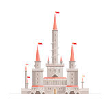 Beautiful fantasy castle. Magic fantasy castle - flat style illustration. Can be used in books, game background, web design, etc Royalty Free Stock Photography
