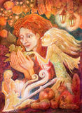 Beautiful fantasy drawing of a autumn woman with red hair  Royalty Free Stock Image