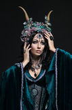 Beautiful fantasy elf woman in floral crown Royalty Free Stock Photos