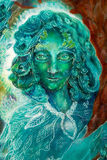 Beautiful fantasy emerald green fairy portrait, colorful close. Beautiful colorful painting of a radiant elven creatures and energy lights, fantasy emerald green Royalty Free Stock Photography