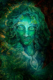 Beautiful fantasy emerald green fairy portrait, colorful close up painting, eye contact Stock Image