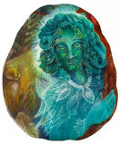 Beautiful fantasy emerald green fairy portrait, colorful close up Royalty Free Stock Photo