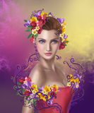 Beautiful Fantasy fairy woman with  hairstyle color flowers Stock Photography