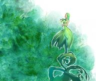 Beautiful fantasy illustration of a mythological dryad female creature. Standing on a growing sprout Royalty Free Stock Photography