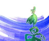 Beautiful fantasy illustration of a mythological dryad female creature. Standing on a growing sprout Stock Photo