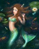 Beautiful Fantasy mermaid in lake with lilies Royalty Free Stock Photo