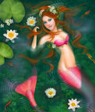 Beautiful Fantasy mermaid in water, in lake with lilies. Underwater Stock Photography