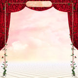 Beautiful  fantasy place. With curtains and rose�s frame for your work. background Royalty Free Stock Photography
