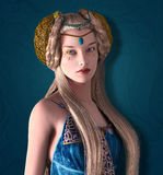 Beautiful fantasy princess. With crown and braids Royalty Free Stock Images