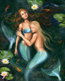 Beautiful fantasy princess mermaids in lake with lilies underwater background. Illustration Beautiful Fantasy mermaids in water. digital painting Royalty Free Stock Images