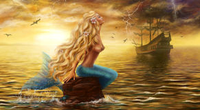 Beautiful Fantasy Sea Mermaid with Ship at Sunset background Stock Image