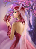 Beautiful fantasy woman queen and red dragon sakura background Stock Photos