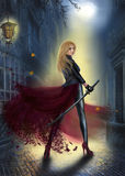 Beautiful  fantasy  Woman Warrior Princess on street,  night Royalty Free Stock Image