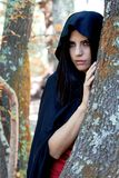 Beautiful fantasy woman wit black hood in the woods Royalty Free Stock Photography